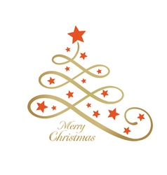 Merry Christmas tree stylized line art vector image
