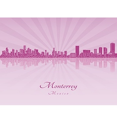 Monterrey skyline in purple radiant orchid vector