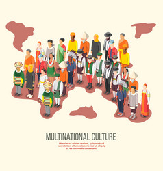 Multinational culture isometric composition vector