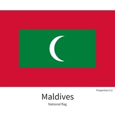 National flag of Maldives with correct proportions vector