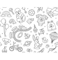 newborn boy bashower seamless doodle line vector image