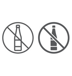 no alcohol line and glyph icon drink and warning vector image