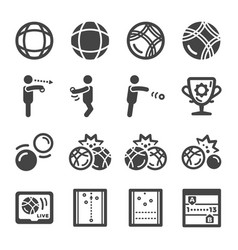 petanque icon set vector image