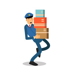 Postman in blue uniform carrying heavy parcels vector