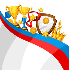 Realistic gold cup and other awards background vector