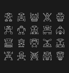 robot simple white line icons set vector image