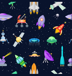 rocket spaceship or spacecraft with vector image