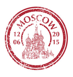 saint basil cathedral on grunge postal stamp vector image