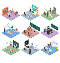 school education set concept 3d isometric view vector image