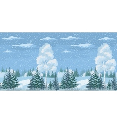 Seamless Christmas Winter Forest Landscape vector image