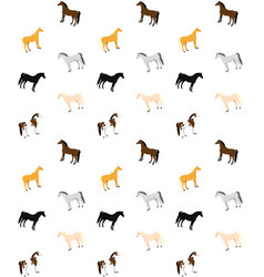 seamless pattern flat different colors horses vector image