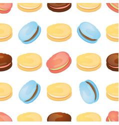 Seamless pattern with colorful macaroon on white vector