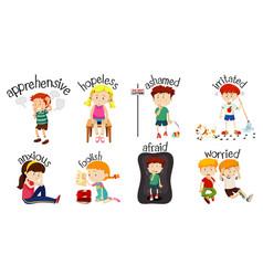Set children doing activities with word vector