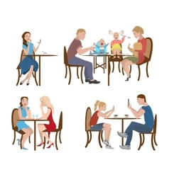 Set of people in a cafe vector