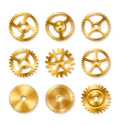 set of realistic golden gears vector image