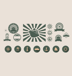 Set of travel emblems and design elements vector