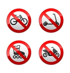 Set prohibited signs - active sports vector