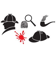 sherlock holmes icons - hat magnifier blood vector image