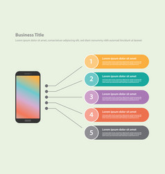 Smartphone app infographic with list of detail vector