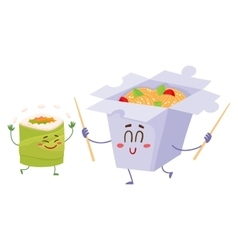 Smiling Japanese noodle in paper box and avocado vector image