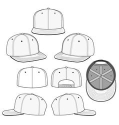 Snapback cap flat sketches tem vector