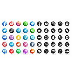 Social media modern 3d and flat round icons set vector