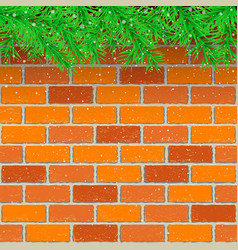spruce snow red brick background vector image