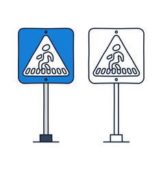 square crosswalk road sign icon in doodle cartoon vector image