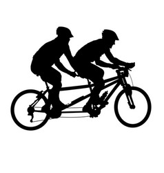 tandem bicycle silhouette - bicyclists on double vector image