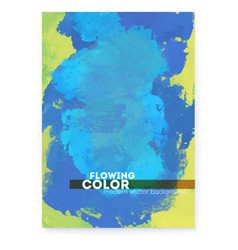 Textured hand drawn canvas green and blue colors vector