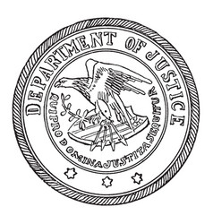 The seal of the department of justice of the vector