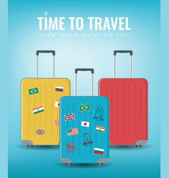 travel luggage set travel and tourism concept vector image
