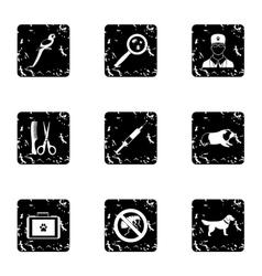 Treatment of animals icons set grunge style vector image
