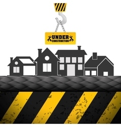 under construction building house crane sign vector image