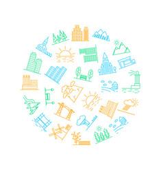 urban scenery icon round design template vector image