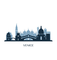 Venice skyline monochrome silhouette vector
