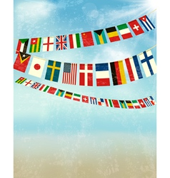 Vintage background with world bunting flags vector