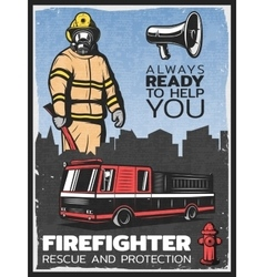Vintage firefighting colorful poster vector