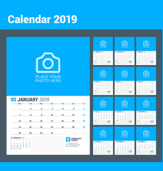 wall calendar planner for 2019 year set of 12 vector image