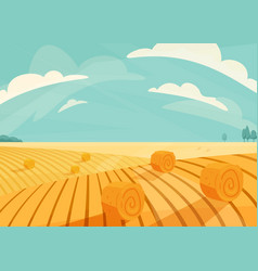 wheat field landscape after vector image