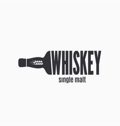 whiskey bottle logo lettering sign whisky vector image