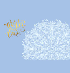 winter love poster white snowflake on blue vector image