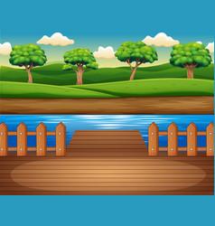 Wooden pier overlooking forest vector