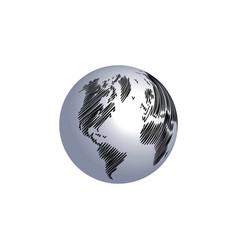 world map globe scribble vector image