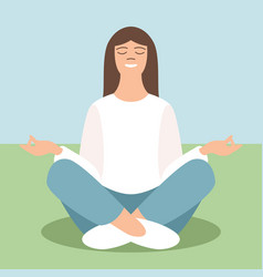 young girl meditating vector image