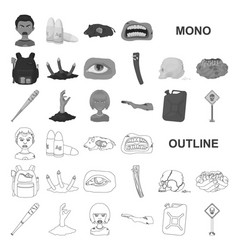 Zombies and attributes monochrom icons in set vector