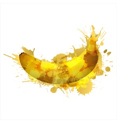 Banana made of colorful splashes vector image vector image