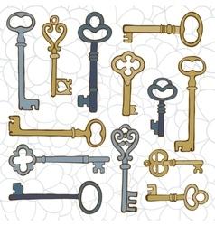 Beautiful hand drawn vintage keys collection vector image vector image