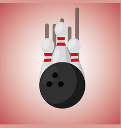bowling pins and ball blurred color background vector image