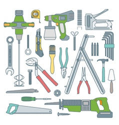 color outline various house remodel instruments vector image vector image